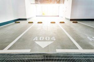 Empty car parking lots in modern building