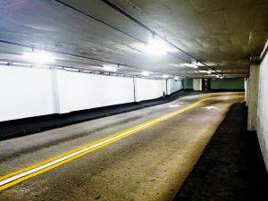 Parking garage ramp at night