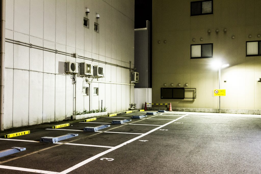 Japan, Osaka, Empty parking lot