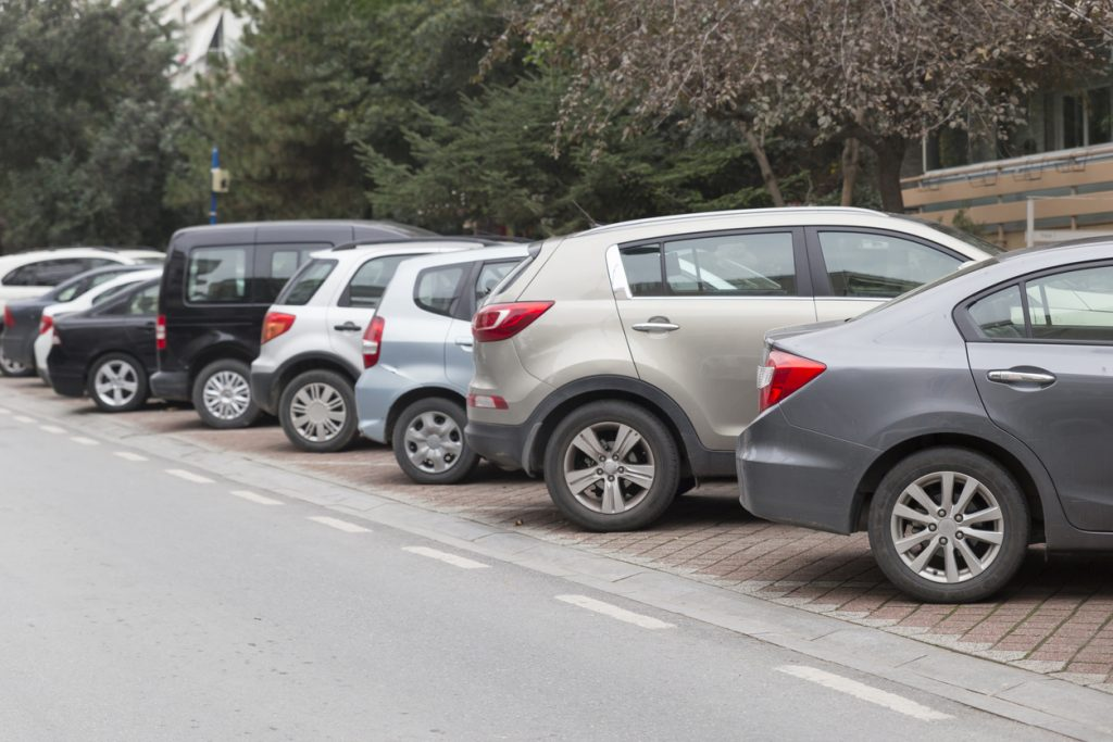Modern compact cars on the parking
