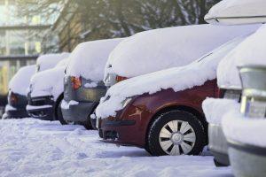 Parking lot after snowfall